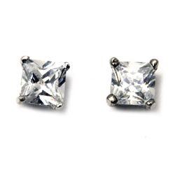 Diamond CZ Square Stud Earrings