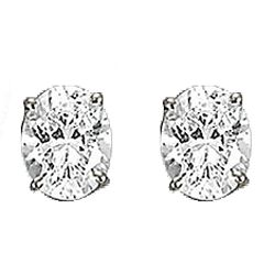 Diamond CZ Oval Stud Earrings