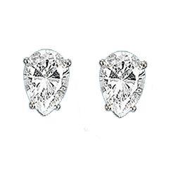Diamond CZ Teardrop Stud Earrings