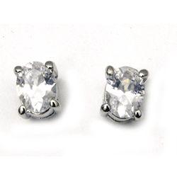 CZ Diamond Oval Stud Earrings