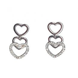 Heart CZ Diamond Earrings
