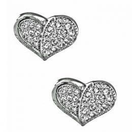 CZ Diamond Heart Earrings