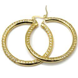 Inside Out CZ Diamond Angela Hoop Earrings