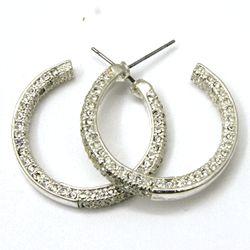 Inside Out CZ Diamond Hoop Earrings