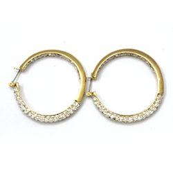 Inside Out CZ Diamond Celebrity Inspired Hoop Earrings