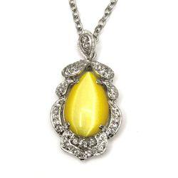 Vintage Rhinestone Accent Cateye Necklace