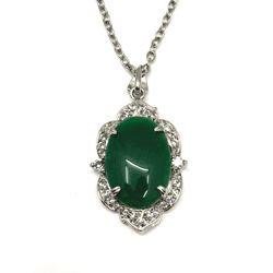 Diamond Rhinestone Accent Jade Necklace