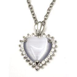 Rhinestone Diamond Accent Cateye Heart Necklace