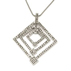 Rhinestone Open diamond Squares Pendant Necklace