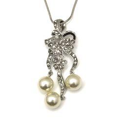 Art Nouveau Rhinestone Accent Chandelier Faux Pearl Necklace