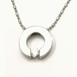 Urban-chic CZ Diamond Tension-set Eternity Circle Necklace