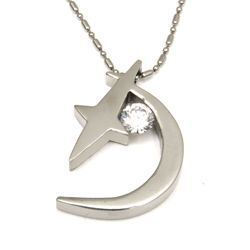 Urban-chic CZ Diamond Tension-set Moon and Star Necklace