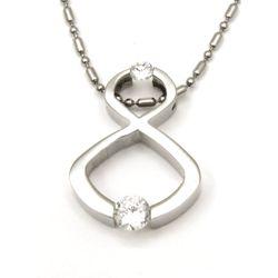 Urban-chic CZ Diamond Tension-set Infinity Necklace
