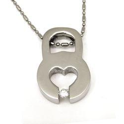 Urban-chic CZ Diamond Tension-set Stylish Padlock Necklace