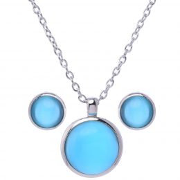 Cat eye Round Pendant Necklace Set