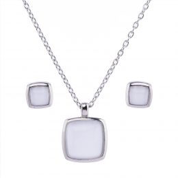 Cat eye Square Pendant Necklace Set
