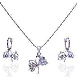 Diamond Heart Accent Butterfly Necklace Set