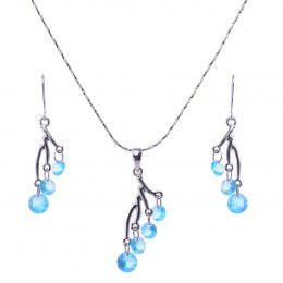 Selena Rhinestone Pendant Necklace Set