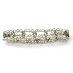 Bridal Pearl Rhinestone 2 Row Stretch Bracelet