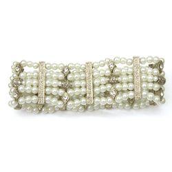 Bridal Pearl Rhinestone 5 Row Stretch Bracelet