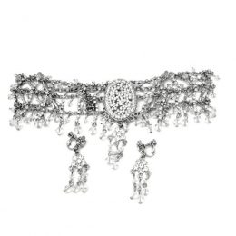Edwardian Rhinestone Choker Necklace Set