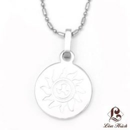 Stainless Steel Sun Engraved Round Pendant