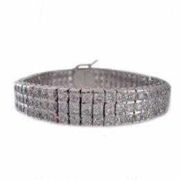 Princess Cut Channel Set Art Deco 3 Row CZ Diamond Tennis Bracelet