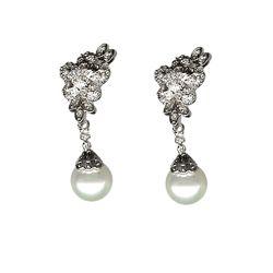Cz Diamond Accent Pearl Earrings