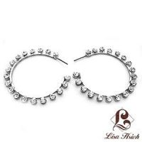 White Gold Plated Rhinestone Hoop Earrings