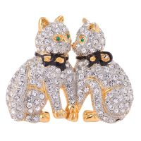 Gold Plated Rhinestone Accented Cats Brooch