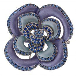 Art Nouveau Enamel Rhinestone Accented Flower Brooch