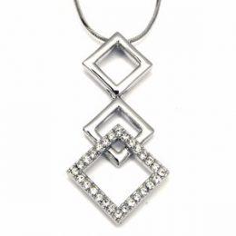 Triple Cz Diamond Pendant Necklace
