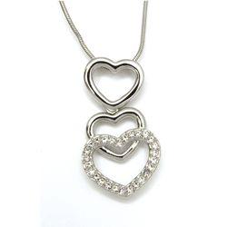 Cz Diamond Accented Heart Pendant Necklace