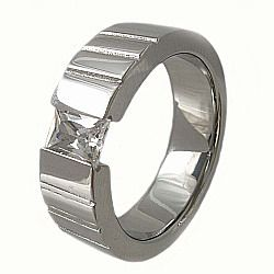 Stainless Steel Tension Set CZ Ring