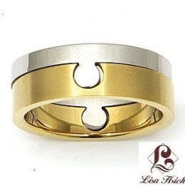 Stainless Steel Two Tone Puzzle Ring