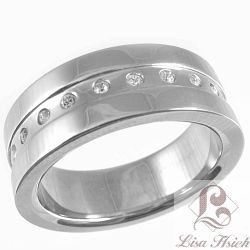 Stainless Steel CZ Diamond Eternity Ring