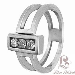 Stainless Steel Reversible CZ Ring