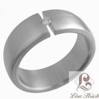 Stainless Steel Tension Set Diamond CZ Ring