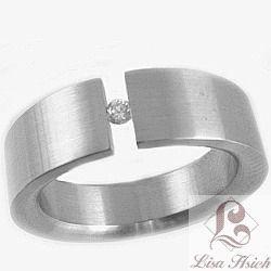 Stainless Steel Tension Set CZ Diamond Ring