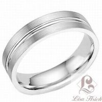 Stainless Steel Single Grooved Wedding Ring
