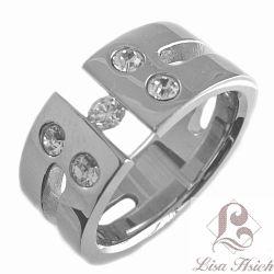Tension Set Stainless Steel CZ Diamond Ring
