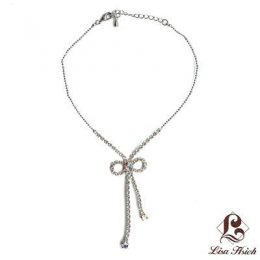 White Gold Plated Rhinestone Bow Anklet