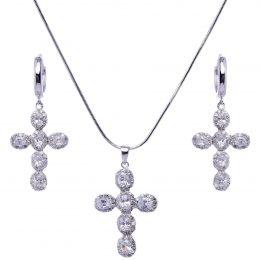 CZ Cubic Zirconia Cross Jewelry Set