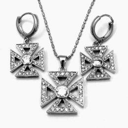 CZ Maltese Cross Jewelry Set