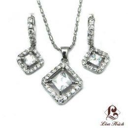 Cubic Zirconia Diamond Pendant Necklace and Earrings Set