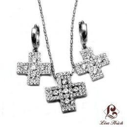 Cubic Zirconia Greek Cross Pendant Necklace Set