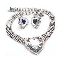 Edwardian Inspired Rhinestone Heart Necklace Set