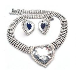 Edwardian Inspired Rhinestone Heart Necklace Set