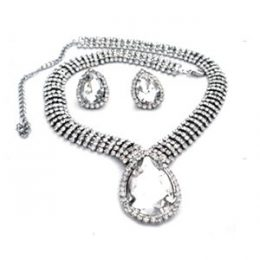 Edwardian Inspired Rhinestone Teardrop Necklace Set