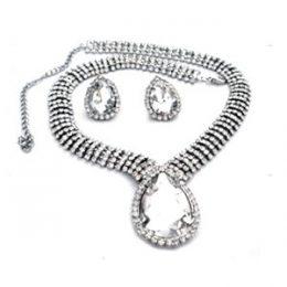 Edwardian Inspired Rhinestone Teardrop Necklace Set